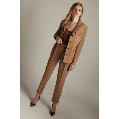 Karen Millen Stretch Wool Blend Tapered Turn Up Trouser -, Camel