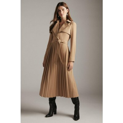 Karen Millen Long Sleeve Woven Pleated Midi Trench Dress -, Camel