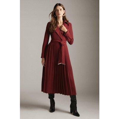 Karen Millen Long Sleeve Woven Pleated Midi Trench Dress -, Red