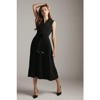 Karen Millen Sleeveless Pleat Notch Neck Woven Midi Dress -, Black