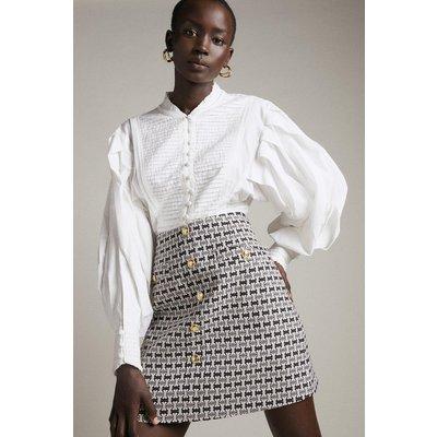 Karen Millen Geo Stretch Jacquard Button A Line Skirt -, Black