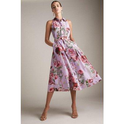 Karen Millen Petite Km Rose Organdie Halter Woven Shirt Dress -, Purple