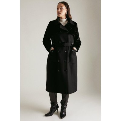 Karen Millen Lydia Millen Curve Italian Wool Faux Fur Coat -, Black
