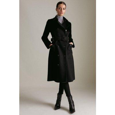 Karen Millen Lydia Millen Petite Italian Wool Faux Fur Coat -, Black