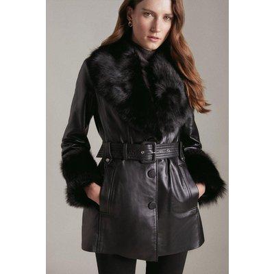 Karen Millen Short Shearling Cuff And Collar Leather Coat -, Black