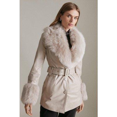 Karen Millen Short Shearling Cuff And Collar Leather Coat -, Nude