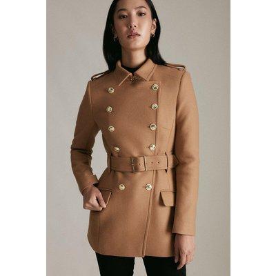 Karen Millen Italian Wool Short Military Coat -, Camel