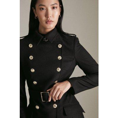 Karen Millen Italian Wool Short Military Coat -, Black