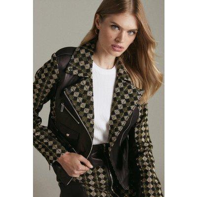 Karen Millen Tweed And Leather Mix Jacket -, Black