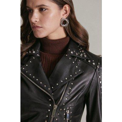 Karen Millen Leather Studded Biker Jacket -, Black