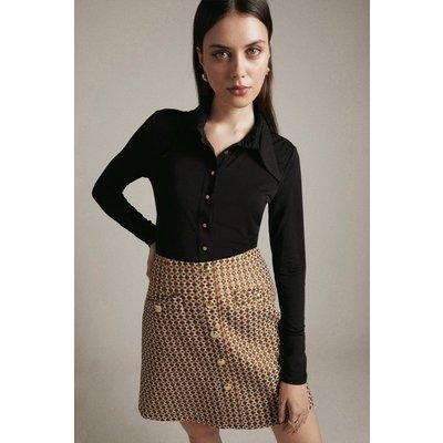 Karen Millen Geo Sparkle Stretch Jacquard A Line Skirt -, Orange
