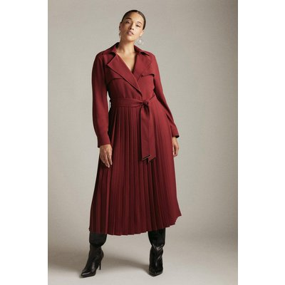 Karen Millen Curve Long Sleeve Pleated Midi Trench Dress -, Red