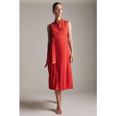 Karen Millen Petite Pleat Notch Neck Woven Midi Dress -, Red