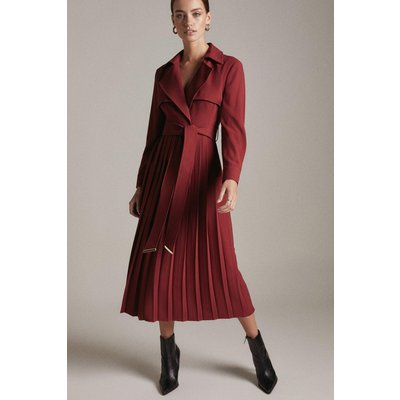 Karen Millen Petite Long Sleeve Pleated Midi Trench Dress -, Red
