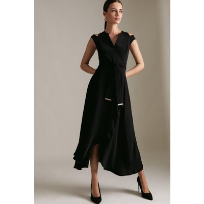 Karen Millen Petite Soft Tailored Waterfall Dress -, Black