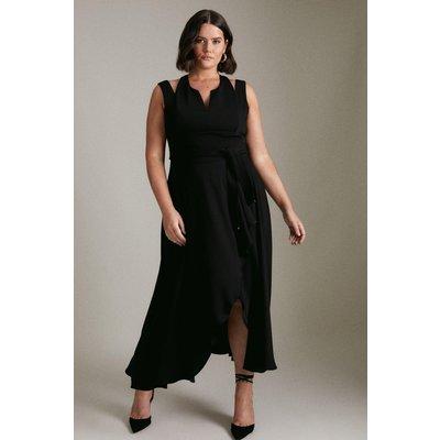Karen Millen Curve Soft Tailored Waterfall Dress -, Black