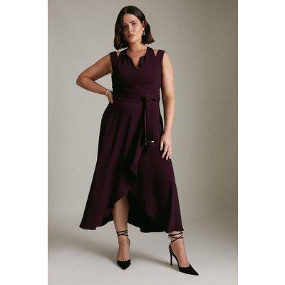 Karen Millen Curve Soft Tailo Waterfall Dress -, Red