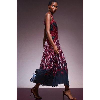 Karen Millen Geo Guipure Lace Woven Print Pleat Maxi Dress -, Red