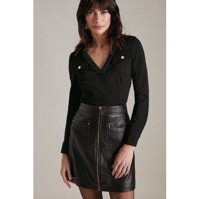 Karen Millen V Neck Pu Collared Ponte Jersey Top -, Black