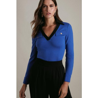 Karen Millen V Neck Colour Block Collared Ponte Jersey Top -, Blue