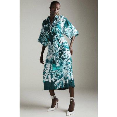 Karen Millen Tiger Print Maxi Belted Woven Shirt Dress -, Blue