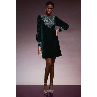 Karen Millen Velvet Cutwork Crystal Embellished Dress -, Green