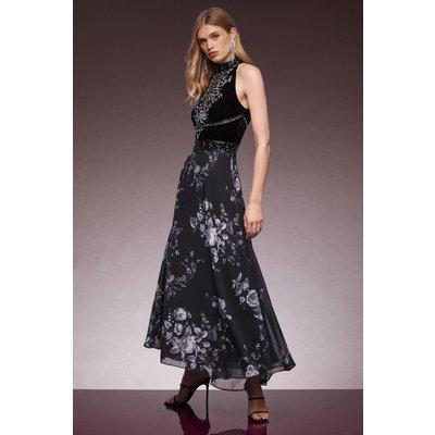 Karen Millen Velvet Cutwork Crystal Embellished Drama Maxi -, Black