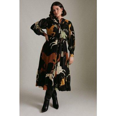 Karen Millen Curve Silk Cotton Stallion Woven Maxi -, Black
