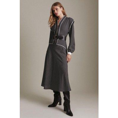 Karen Millen Woven Check Sharp Shoulder Gold Trim Midi Dress -, Mono