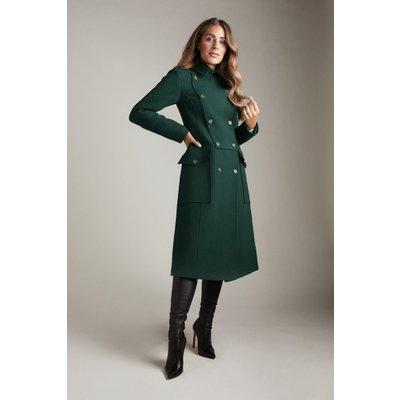 Karen Millen Lydia Millen Italian Wool Blend Military Coat -, Green