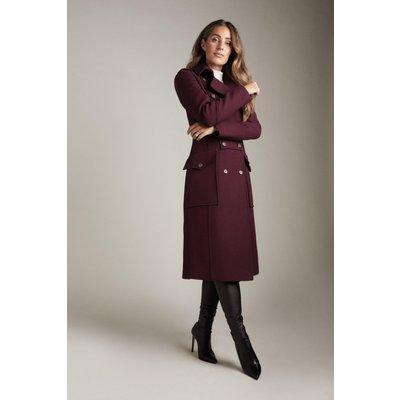 Karen Millen Lydia Millen Italian Wool Blend Military Coat -, Red