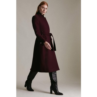Karen Millen Italian Wool Blend  Notch Coat -, Red
