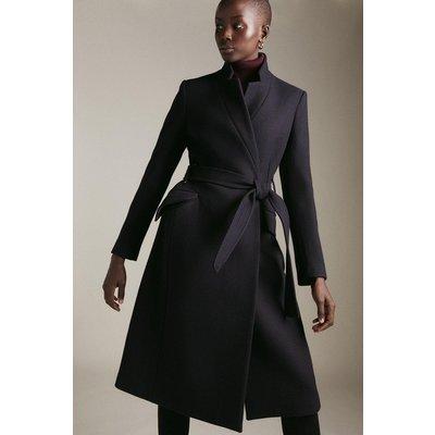 Karen Millen Italian Wool Blend  Notch Coat -, Navy