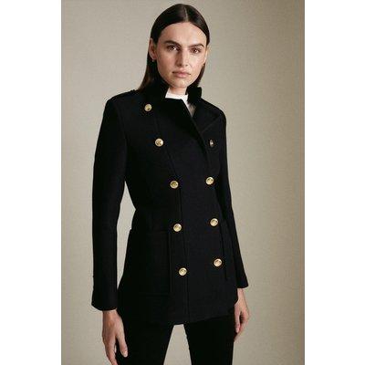 Karen Millen Italian Virgin Wool Military Short Coat -, Navy