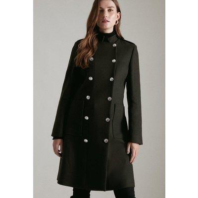 Karen Millen Italian Virgin Wool Military Coat -, Khaki/Green