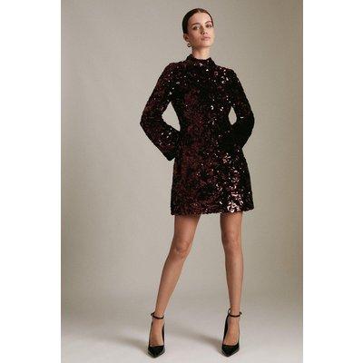 Karen Millen Petite Velvet Sequin Woven Stretch Dress -, Red