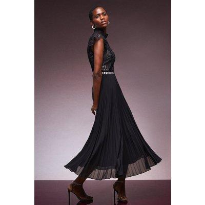 Karen Millen Guipure Lace Woven Pleat Midi Dress -, Mono