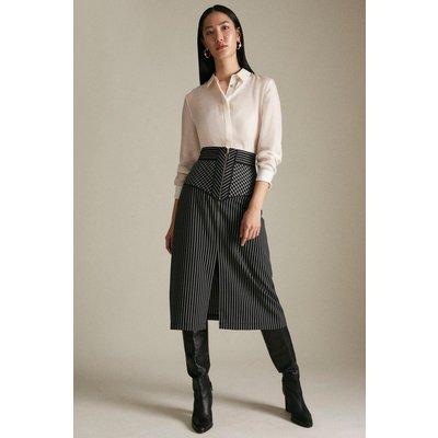 Karen Millen Woven Stripe And Check Zip Detail Skirt -, Mono