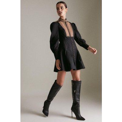 Karen Millen Petite Poplin Tape Embroidery Woven Dress -, Black