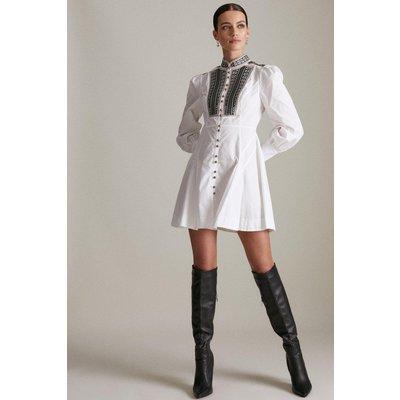 Karen Millen Petite Poplin Tape Embroidery Woven Dress -, White