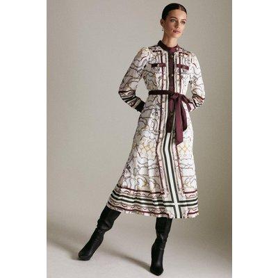 Karen Millen Petite Equestrian Print Woven Shirt Dress -, Ivory