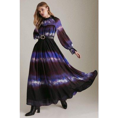 Karen Millen Petite Tie Dye Woven Tape Detail Drama Dress -, Blue