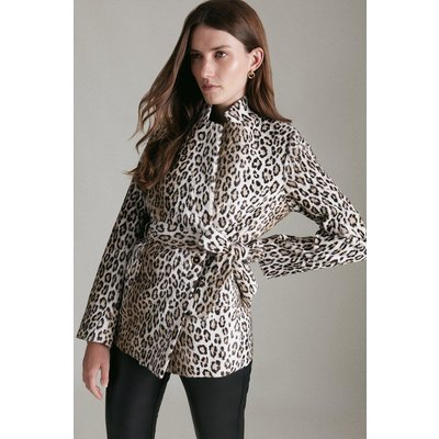 Karen Millen Signature Snow Leopard Notch Neck Short Coat, Multi