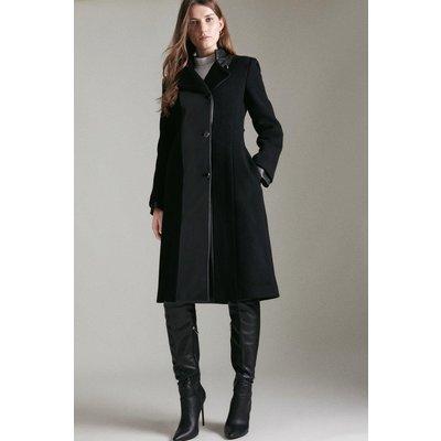 Karen Millen Italian Wool & Faux Leather Coat -, Black