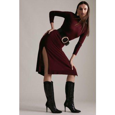 Karen Millen Premium Croc Effect Leather Heeled Long Boot -, Black
