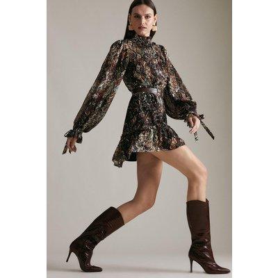 Karen Millen Premium Croc Effect Leather Heeled Long Boot -, Brown