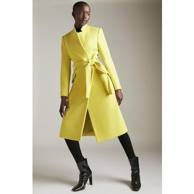 Karen Millen Italian Wool Cashmere Notch Neck Coat -, Chartreuse