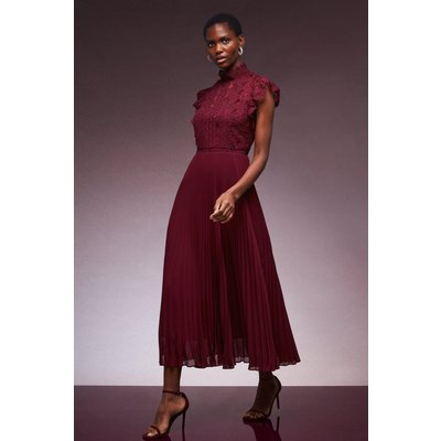 Karen Millen Guipure Lace Woven Pleat Midi Dress -, Red