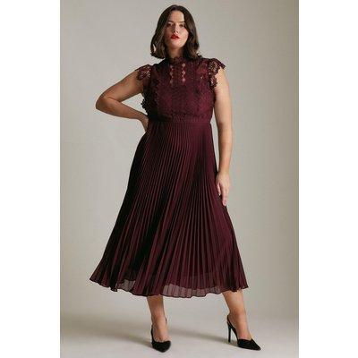 Karen Millen Curve Guipure Lace Woven Pleat Midi Dress -, Red