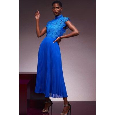 Karen Millen Guipure Lace Woven Pleat Midi Dress -, Blue